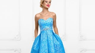 Голубое платье из жаккарда с юбкой длины миди