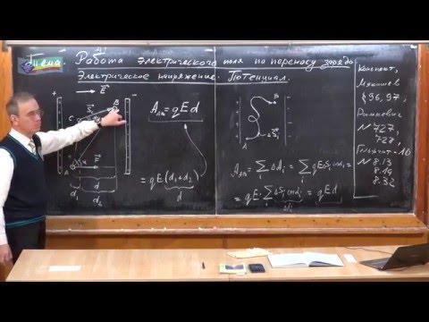 Урок 229. Работа электрического поля. Потенциал. Электрическое напряжение