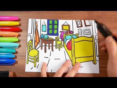 Van Gogh's Bedroom at Arles | Coloring ASMR