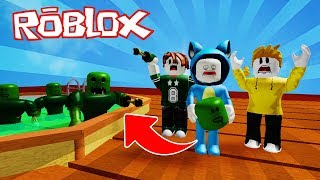 WE ESCAPE THE ZOMBIES POOL!! PARKOUR OBBY ROBLOX 💙💚💛 BABY MILO VITA AND ADRI 😍 AMIWITOS