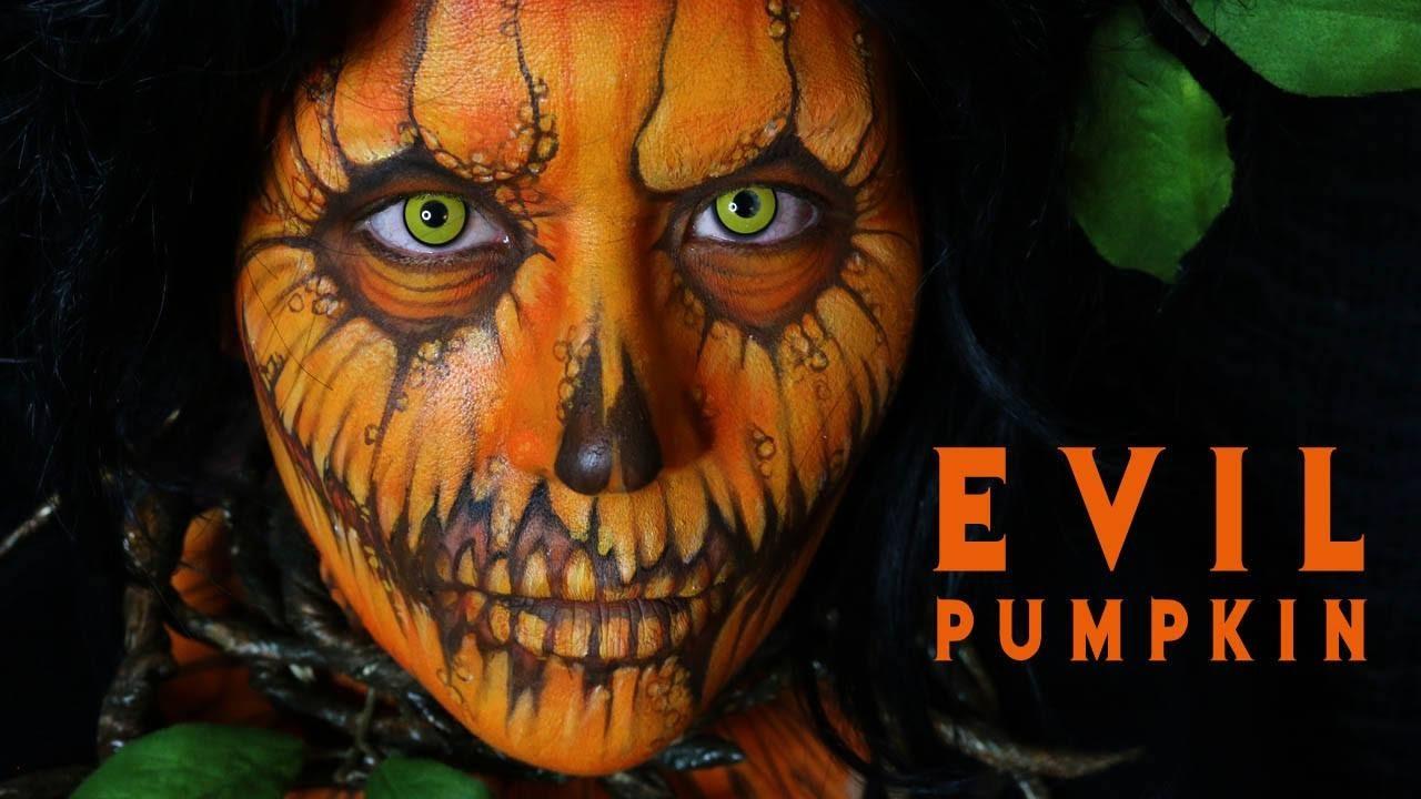 EVIL PUMPKIN: Halloween Makeup Tutorial 12 - YouTube