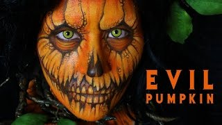 evil pumpkin halloween makeup tutorial 12