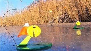 ЛОВЛЯ ЩУКИ на ЖЕРЛИЦЫ НОЧЬЮ Зимняя рыбалка по ПЕРВОМУ ЛЬДУ