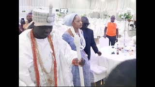 See How Ooni Of Ife and his new Olori, Step Out In Style With Full Bodyguard To Their Expensive Car