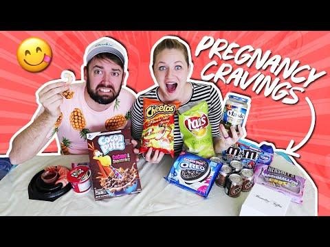 Michael Tries My Weird Pregnancy Cravings! Pregnancy Food Taste Test / Becca Beach