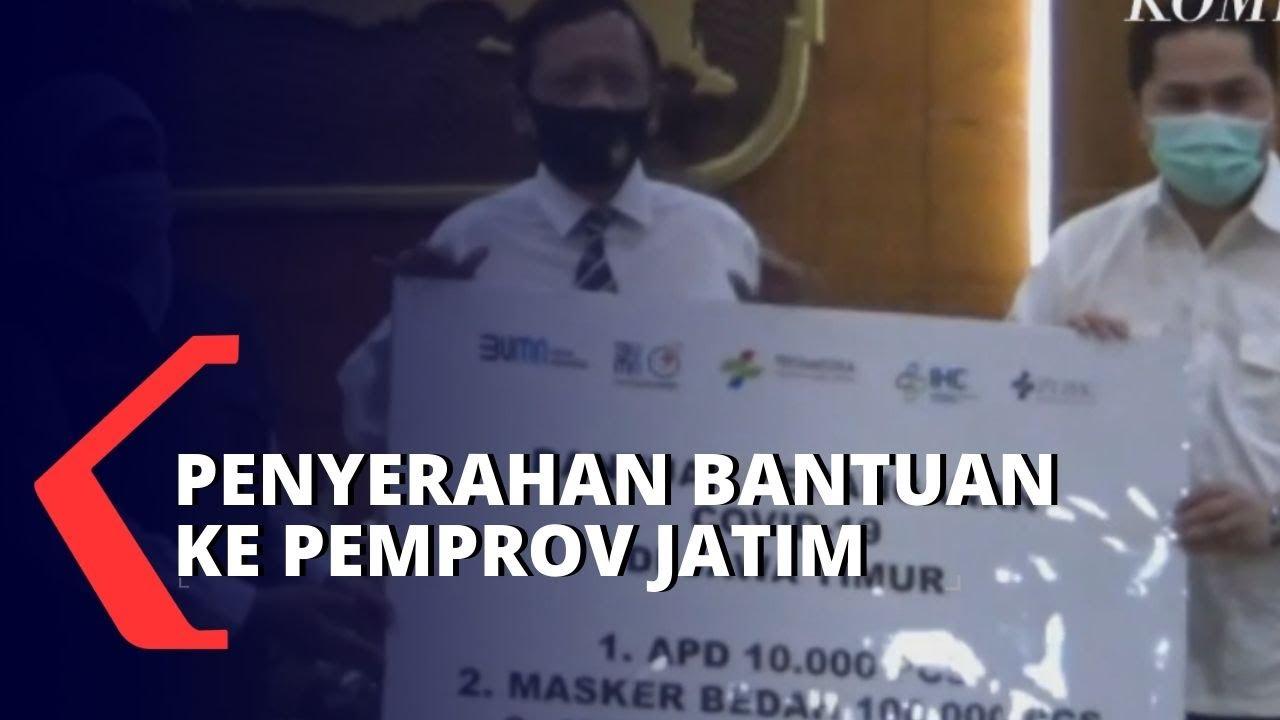 Menteri BUMN Serahkan Bantuan APD Hingga Obat Avigan ke Pemprov Jawa Timur