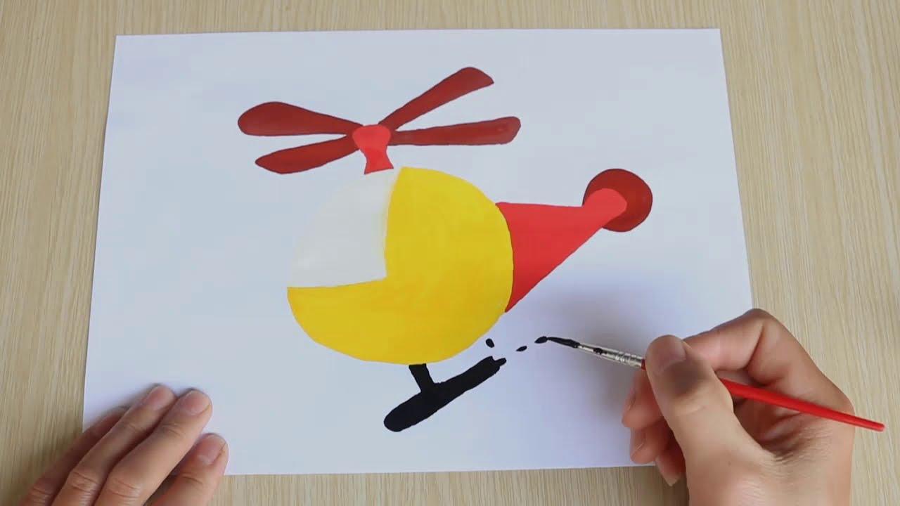 Cara menggambar mainan helikopter dengan cat air   Vẽ đồ chơi máy bay trực thăng với màu nước