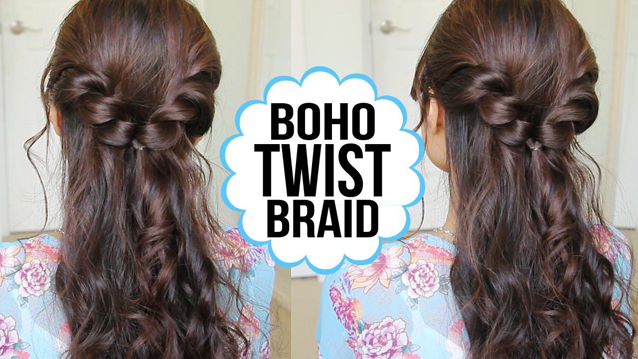 Easy Twist Braid Hairstyle Hair Tutorial YouTube