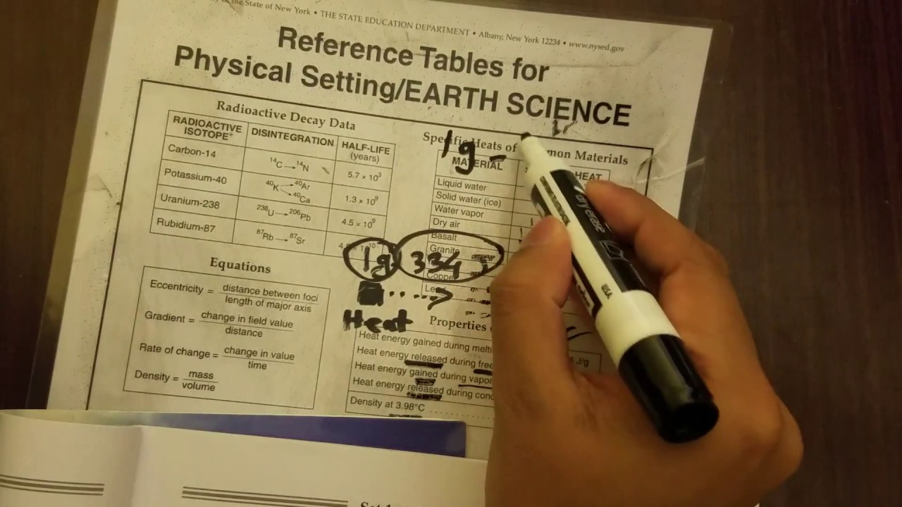 Earth Science Reference Table (ESRT) review for the Regents Exam #01  (Properties of Water)