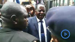 Raila almost loses cool as bodyguard denied Supreme Court entry