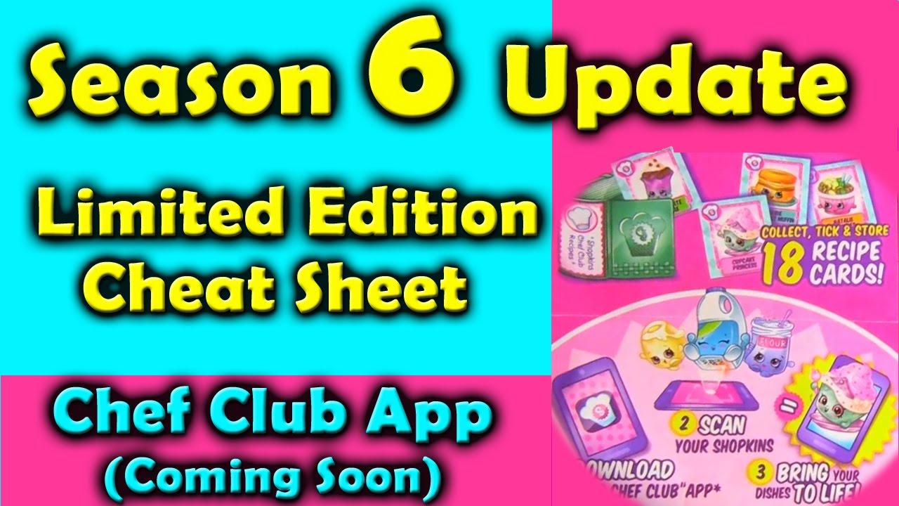 Shopkins Season 6 Limited Edition Cheat Sheet And Chef Club App