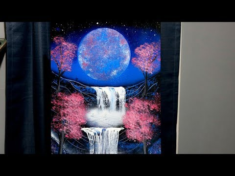Spray paint painting video of a nighttime fantasy scene…Mar 7th