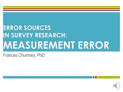 Introduction to Error Sources in Survey Research: Measurement Errors