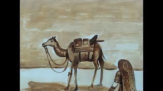 Paint with Coffee | Camel in the Desert Monochrome Painting in brown shades of Coffee