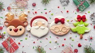 Decorated Christmas Cookies ~ Santa, Mrs Clause, Rudolph & Christmas Tree