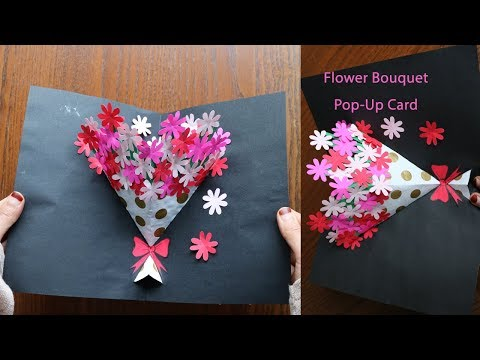 DIY Flower Bouquet Pop up Card-Paper Crafts-Handmade Craft