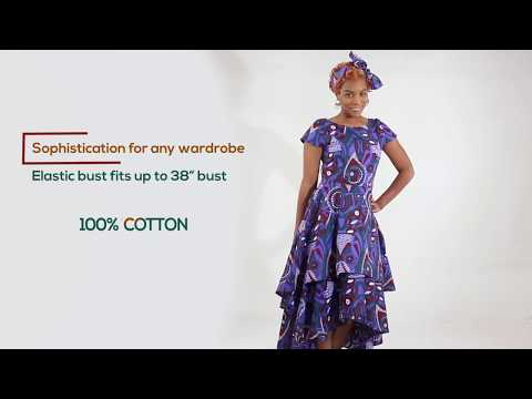 Purple African print flare dress from Africa Imports