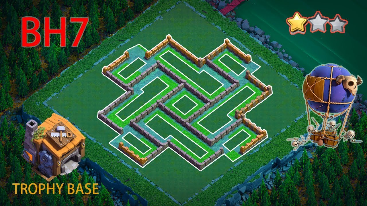 New Best Builder Hall 7 Base 2020 Design With Copy Link Bh7 Base Anti 2 3 Star Trophy Base Coc Youtube