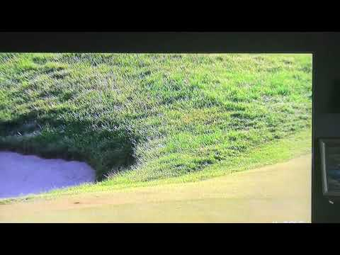 Cameraman dodges Marc Leishman's 3rd shot on the 18th hole of the Dell Technologies Championship