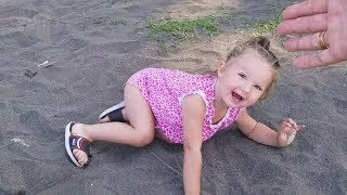 Funny baby FAKE falling in public!