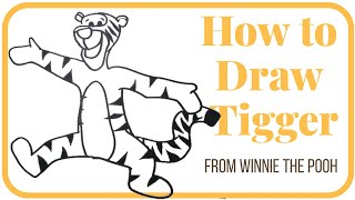 How to draw Tigger from Winnie the Pooh easy step by step video tutorial