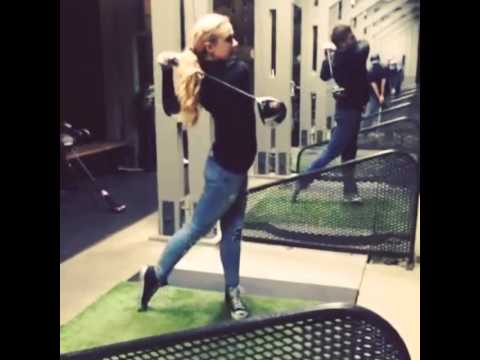 Jensen Ackles and Kathryn Newton go golfing
