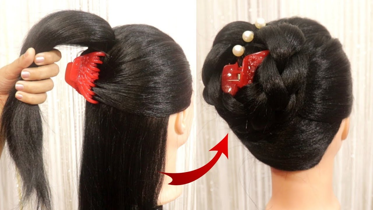 Latest Juda Hairstyle With Using Clutcher | New Bun Hairstyle For Wedding And Party | Easy Hairstyle