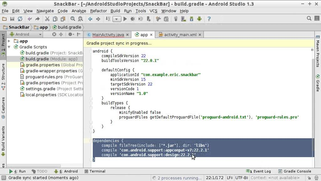 Add Android Design Support Library to Android Studio Project