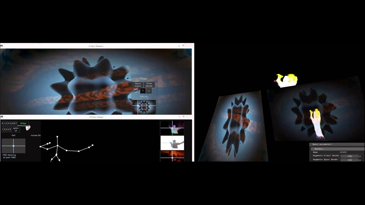 kinect app + shaders app mixed together in Reymenta Spout mix-n-map