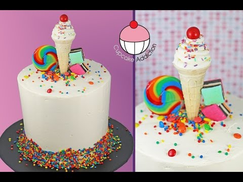 Classic Birthday Cake with a Standing Ice Cream Illusion My