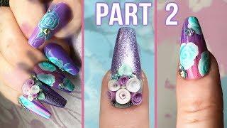3D Acrylic Bouquet - Striped Effect Designer Nails Part 2