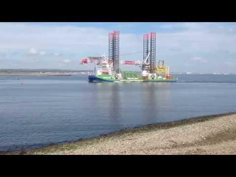 """Jack-up crane ship """"Innovation"""" entering River Tees."""