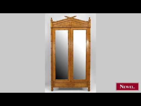 Antique French Victorian faux bamboo birds eye maple armoire