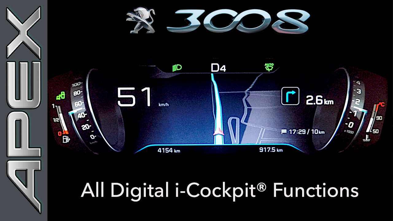 peugeot 3008 suv gt line - i-cockpit functions (2017) - youtube