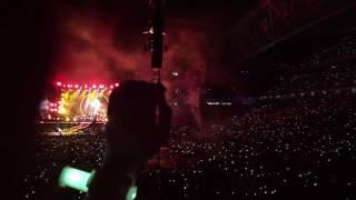 Coldplay 2016 Brisbane. Fix You. Fire works.