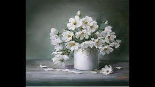 Oilpainting  Blumen Cosmea Blumen Нежность белых космей