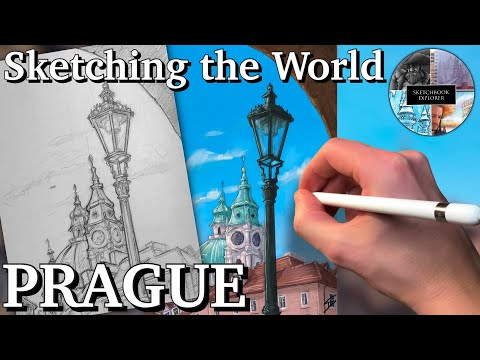 SKETCHING THE WORLD: Prague - view of St Nicholas Church. Pencil sketch and iPad painting