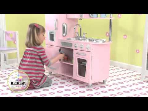 53179 cucina per bambini rosa stile vintage youtube for Mattonelle finte per cucina