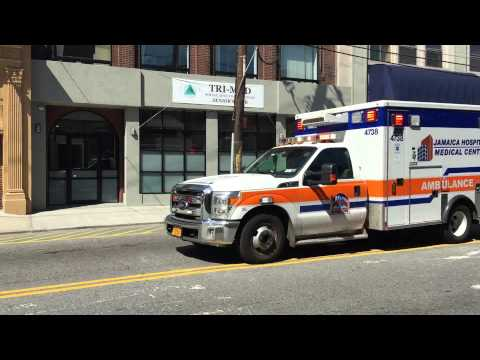 JAMAICA HOSPITAL MEDICAL CENTER EMS AMBULANCE RESPONDING ON MOTT AVE. IN FAR ROCKAWAY, QUEENS, NYC.