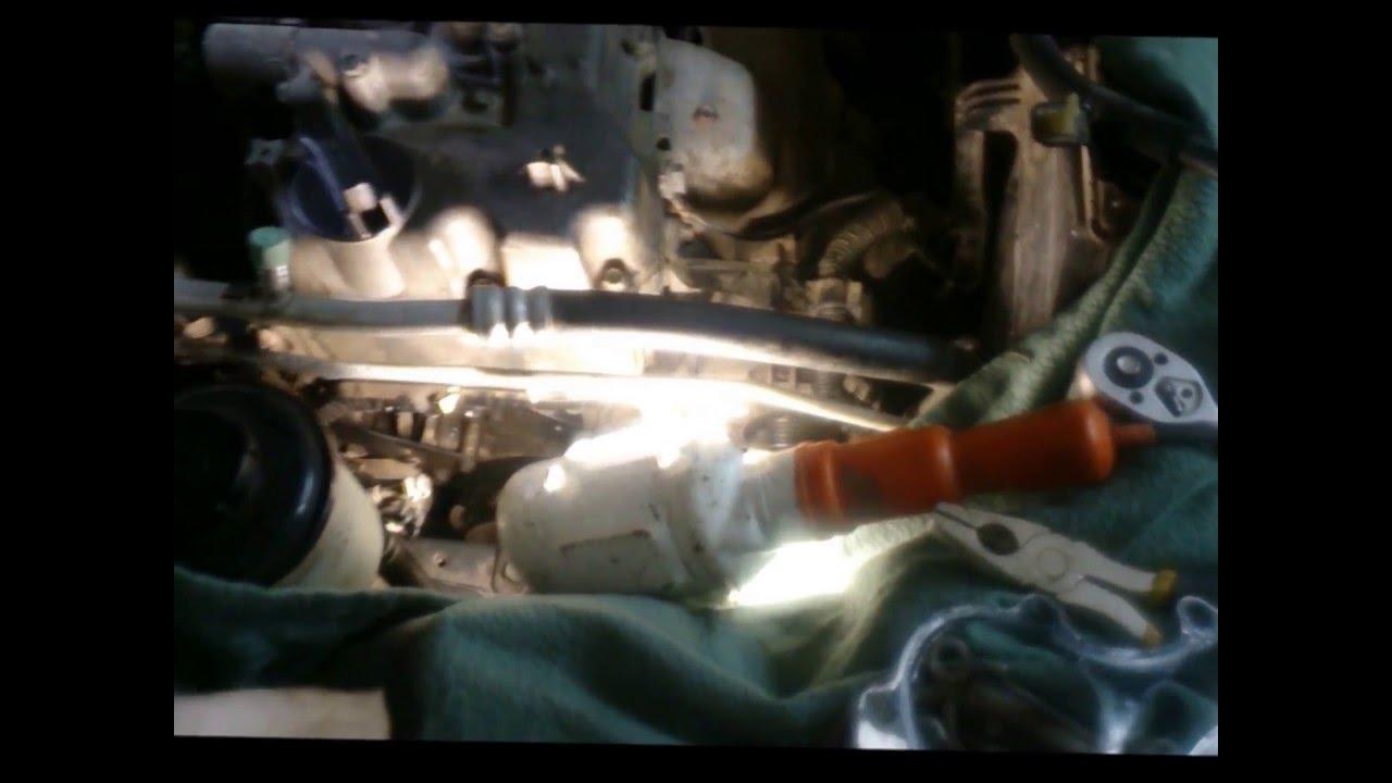 Замена помпы Nissan Almera Classic ,без снятия шкива коленвала