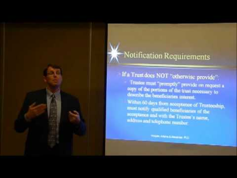 Notification Requirements to Beneficiaries (Video 13 by Ron Adams, Chandler AZ Trust Attorney)