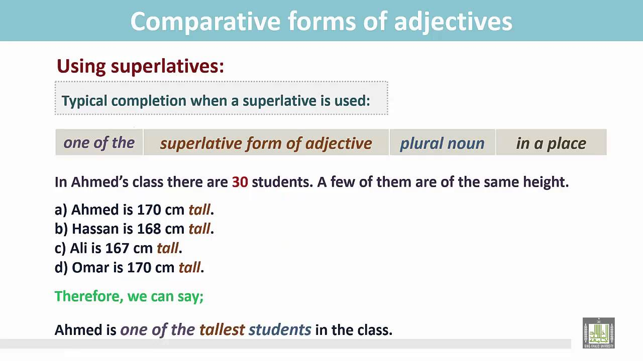 Grammar ( 2 ) - CH9 - L8 : Comparative forms of adjectives (7 ...