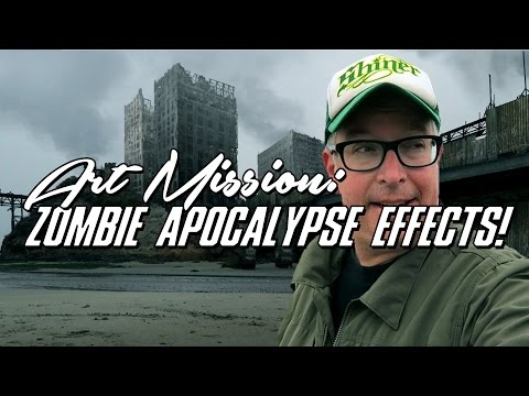 Zombie Apocalypse Matte Painting in Photoshop and After Effects Concept Art Tutorial.