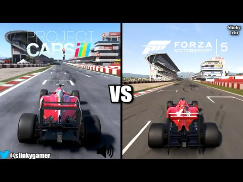 Project Cars vs Forza Motorsport 5 - F1 @ Circuit Barcelona (Graphics and Sound Gameplay)