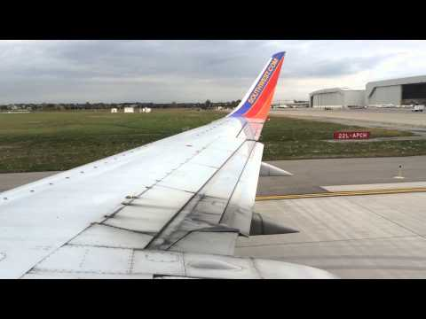 Southwest Airlines Boeing 737-300 Takeoff From Detroit Metro Airport