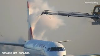 Airplane Deicer Truck   De Ice wings before fly   De ice aircraft   Embreaer 195 Austrian Airlines