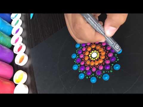 Como hacer mandala en puntos acrilicos   how to draw dots mandala acrylic