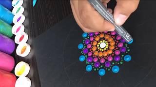 Como hacer mandala en puntos acrilicos | how to draw dots mandala acrylic