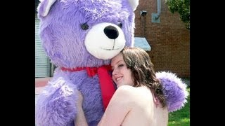 giant 6 feet tall purple teddy bear with white face big plush made in america personalized free