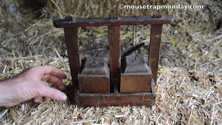 Antique Wooded Deadfall Mouse Trap In Action with motion cameras (HD)